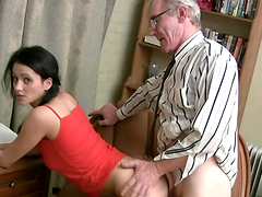 Perverted Teacher fucks brunette hottie
