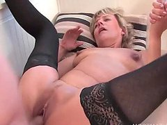 Lusty mature in stockings jumping dick..