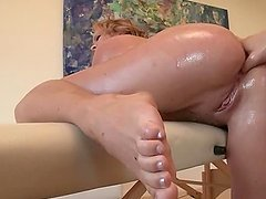 Dirty masseur fingering hot ass over..