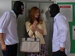 Akari Asahina gets fucked by two guys..
