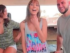 Blonde cutie joins hot couple in..