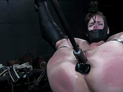 BDSM rough scene with chick in full submission