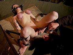 Bondage Girl's Titties Go Purple From..