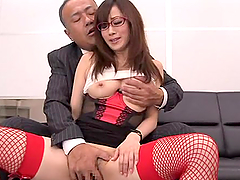Japanese office girl enjoys some..