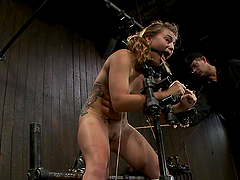 Babe Trapped In Bondage Machine with..