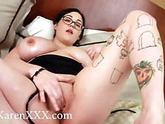 Solo brunette with gorgeous big natural tits toys