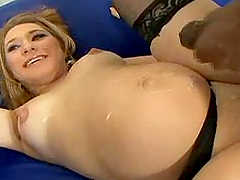 Pregnant girl in stockings gets fucked..
