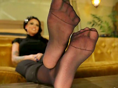 Hot Christy Mack gives nice footjob..