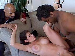 Dude watches as two black men fuck his..