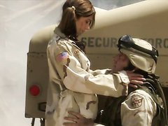 Outdoors Uniformed Sex By The Humvee..