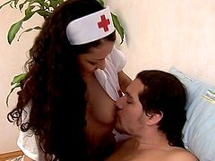 Horny Nurse Leans Over to Suck a Dick