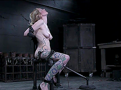 Horny Blonde's Tied And Masturbates..