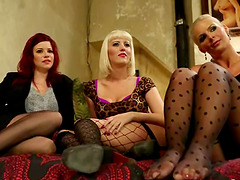 Three lewd lesbians show their..