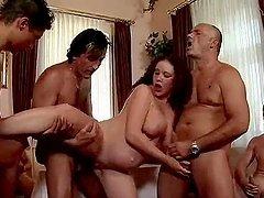 Pregnant slut gets fucked by a few..