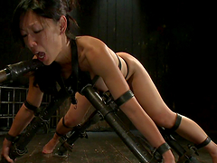 Asian hottie victim of bondage device & torture!
