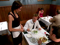 Sexy brunette waitress gets gangbanged..
