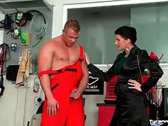 Mechanic submits to mistress and gets..
