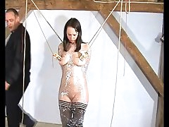 Busty girl cries from pain in her BDSM..