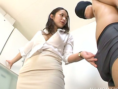 Asian Rubbing Her Ass on Masked Guy..