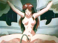 Chained hentai gets tentacle drilled..
