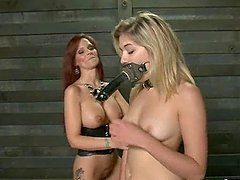 Lesbian BDSM sex with two hot divas..