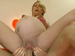 Pregnant blonde sucks and rides a cock and gets cum on her big tits