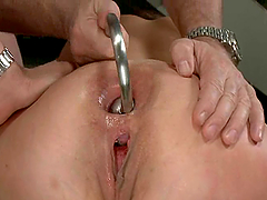 Alysa is being double penetrated in a..