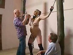 Busty pregnant blonde gets tortured in..