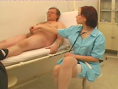 Female doctor sucks and fucks her..