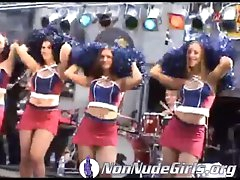 Cheerleaders in short skirts on stage at show
