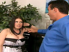 Daphne Rosen gives a titjob before..