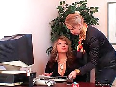 Smoking mistress uses secretary as..