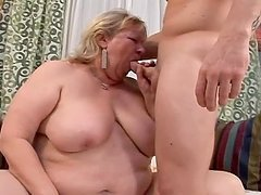 Fat granny Jane fucks a guy and gets a..
