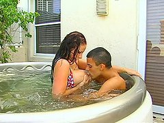 Hot Sex Outdoors in Jacuzzi with Busty..