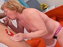 A Sweet Granny Makes A Hard Cock Cum..