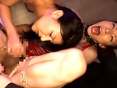 Wild threesome with asian slut and horny shemale