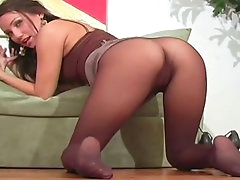 Beauty in pantyhose likes to tease