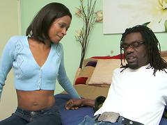 Skinny Ebony Babe with Nice Butt Gets..