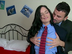 Divine brunette is fucking her colleague