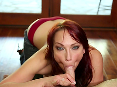 Hot redhead MILF deepthroats wildly