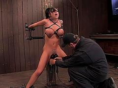 Bondage fun with the busty pornstar..
