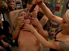 Group bondage sex with kinky blonde slut