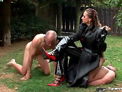 Mistress smokes cigar and uses guy as..