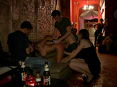 Tight bitch gets tied up and fucked..