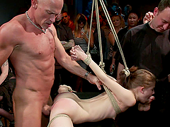 Chick gets tied up and fucked hard in..