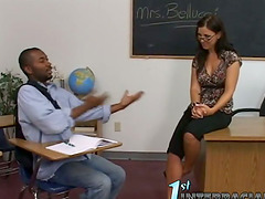 Sassy teacher seduces her black..