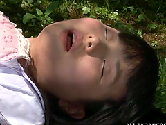 Slutty Japanese chick blows and gets..