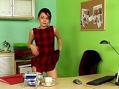 Horny office girl masturbates sitting..