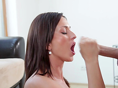 Brunette slut gets face-fucked big time!