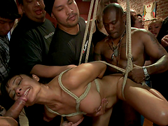 Hardcore bondage scene with hot slut